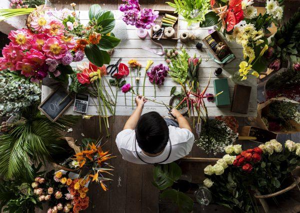 Bouquet du jour réalisé avec les fleurs fraiches du moment